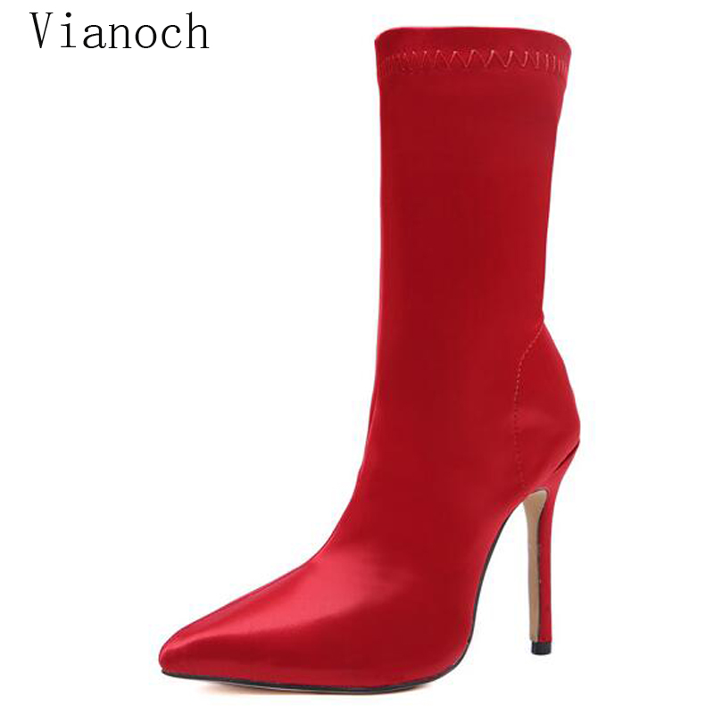 2019 Fashion New Women High Heels Sexy Boots Mid Calf Shoes Pointed Toe Shoe Woman Size 40 wo18081151 in Mid Calf Boots from Shoes