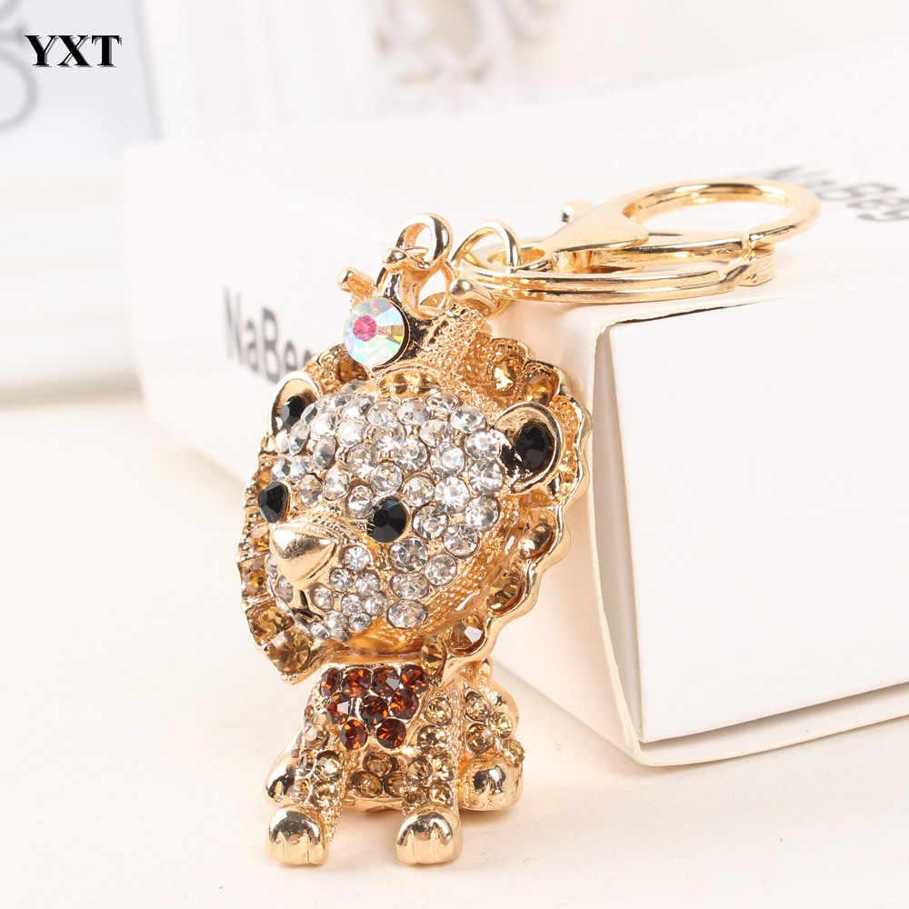 חדש אריה ליאו מלך יפה Crownling אופנה ריינסטון קריסטל ארנק תיק רכב מפתח טבעת שרשרת תכשיטי מתנה אכזרי-סגנון חדש