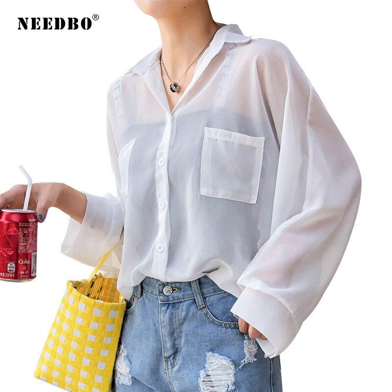 NEEDBO Chiffon White Blouse Women Long Sleeve Casual Anti-sunburn Womens Tops and Blouses Shirts Blusas Mujer De Moda 2019