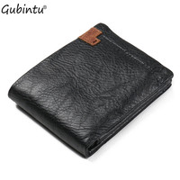 GUBINTU Genuine Leather Wallet 100 Real Cowhide Trifold Purse Multifunction Card Purse Clutch Bag Luxury Vintage