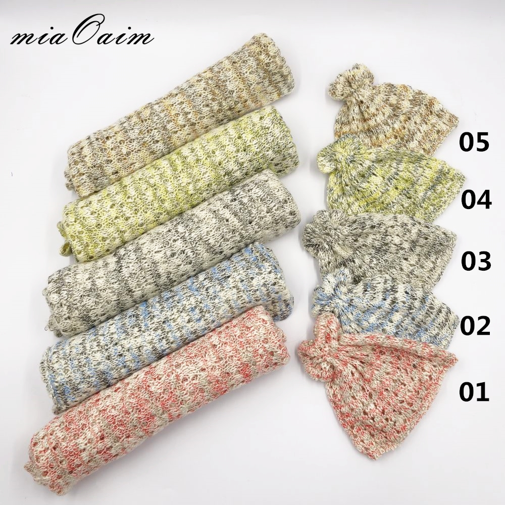 5Sets in A Lot Wrap+Hat Full Set Stretch Knitted Rayon Wrap Newborn Photography Props Baby Kids Receiving Blanket Basket Filler a hat full of sky