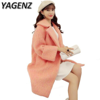 YAGENZ New 2017 Winter Jacket Women Korean Single breasted Overcoat Long Lady Woolen Jacket Slim Warm Female Coat High Quality