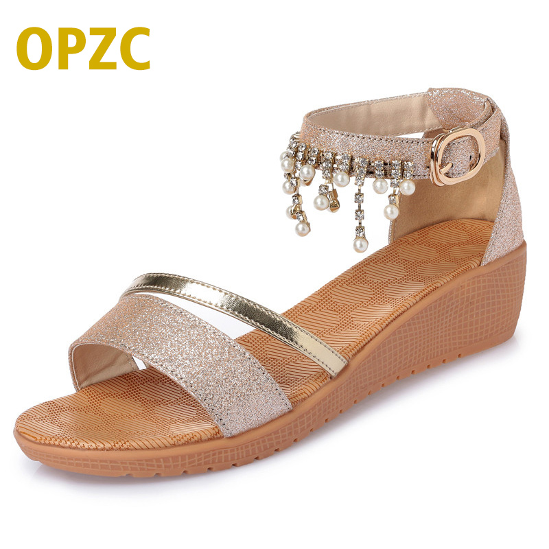 Microfiber leather women sandals new big size 41 42 43 golden 1 word deduction student sandals flat bottom open toe summer shoes