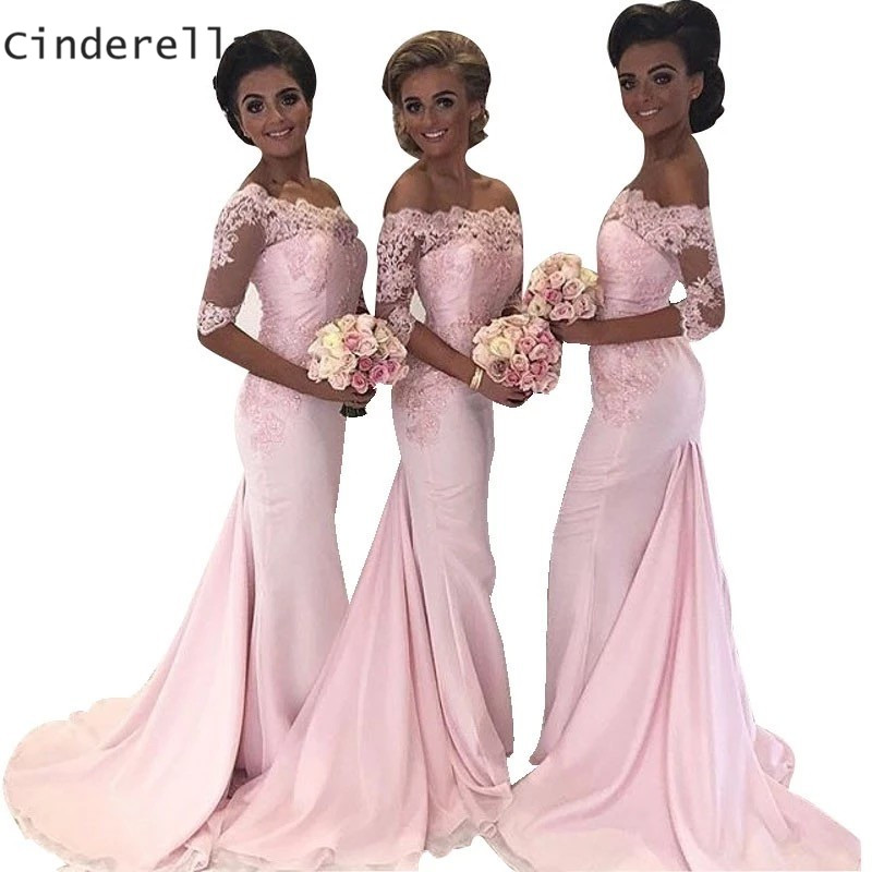 Cinderella Boat Neck Off The Shoulder Lace Applique Chiffon Mermaid   Bridesmaid     Dresses   Sexy Lace Mermaid   Bridesmaid     Dresses