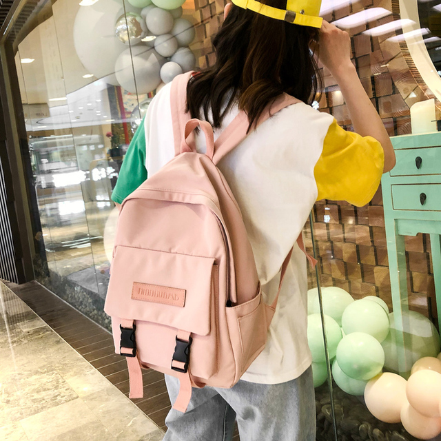 2020 Backpack Women Backpack Fashion Women Shoulder Bag solid color School Bag For Teenage Girl Children Backpacks Travel Bag 6