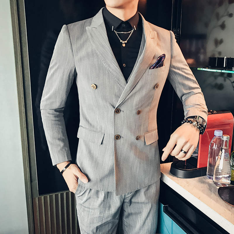 2017 Double Breasted Suits Men Vintage Dress Grey Tuxedo Social ...