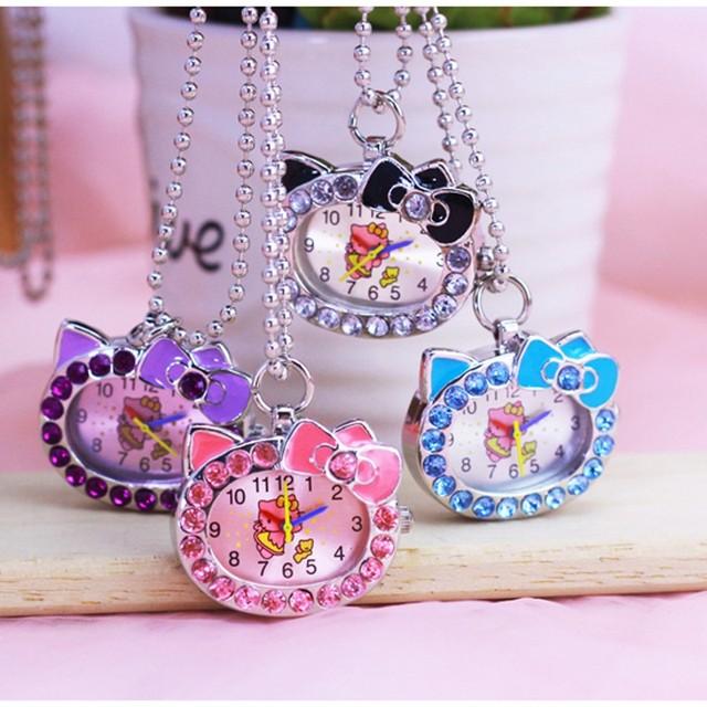 New Hello Kitty Cartoon Children Pocket keychain Watch Fashion delicate Pendants