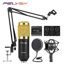 FELYBY BM 800 Juego de micrófono de condensador profesional para grabación de ordenador, con alimentación Phantom y tarjeta de sonido multifunción