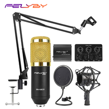 HOT! FELYBY BM 800 professional Condenser microphone set for computer recording with Phantom power and Multi function sound card