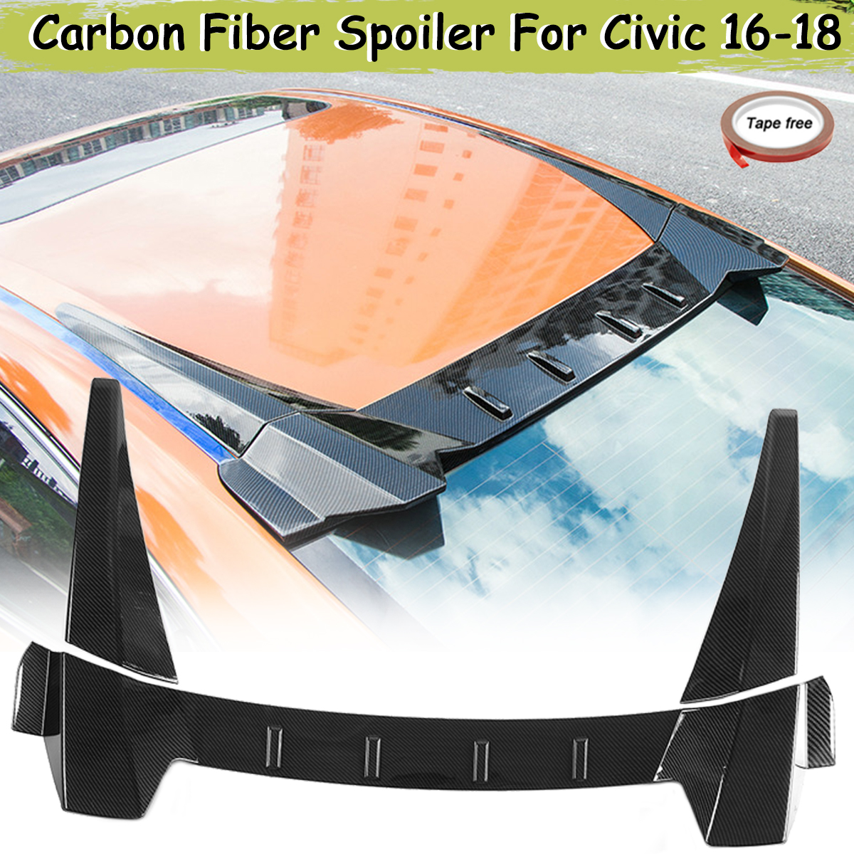 ABS Carbon Fiber Color R Style Rear Window Roof Spoiler Diffuser For Honda For Civic 4Dr For Sedan 2016 2017 2018ABS Carbon Fiber Color R Style Rear Window Roof Spoiler Diffuser For Honda For Civic 4Dr For Sedan 2016 2017 2018