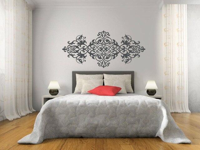 Autocollant mural pour tête de lit en vinyle   Autocollant Vintage de Style Baroque, motif Mandala fleur, décoration murale, chambre principale, maison, MT42