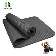 10mm NBR Exercise Yoga Mat Extra Thick High Density Yoga Mats Fitness with Carrying Strap for Pilates Fitness and Workout