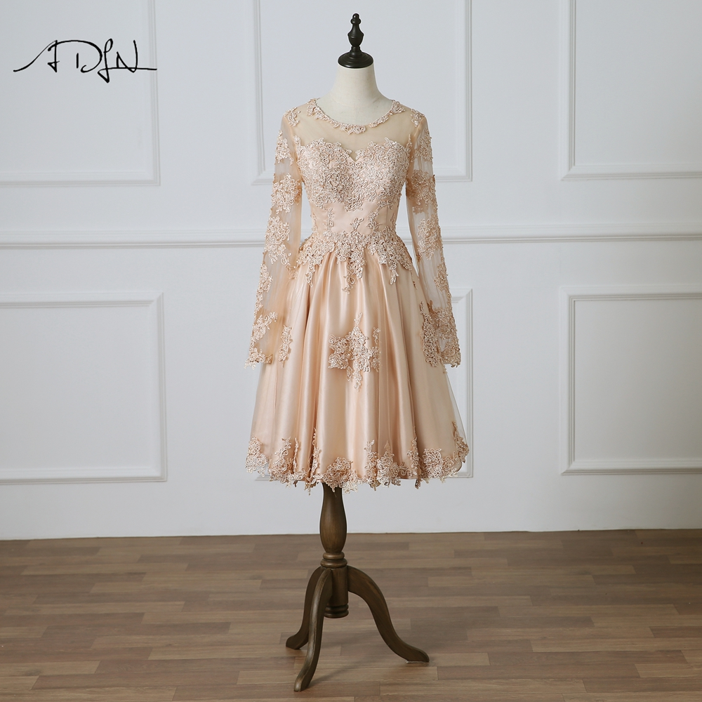 ADLN Champagne   Cocktail     Dresses   Chic Long Sleeves A-line Lace Homecoming Party Gown See Through Back Prom   Dress