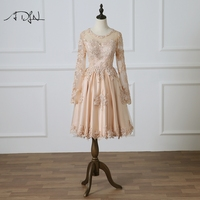 ADLN Champagne Cocktail Dresses Chic Long Sleeves A line Lace Homecoming Party Gown See Through Back Prom Dress