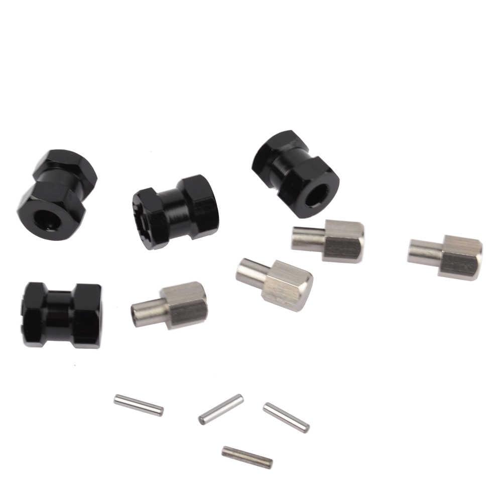 RC oruga 1/10 aleación de aluminio 12mm cubo de rueda adaptador de unidad hexagonal 15MM adaptador de extensión para RC SCX10 los espectros 90046