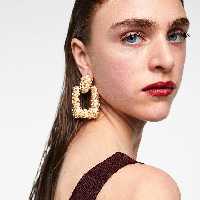 Dvacaman ZA Fashion 2018 Women Maxi Drop Earrings Large Geometric Pendant Earrin