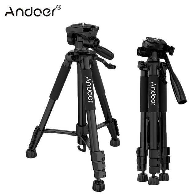 Andoer TTT-663N Travel Tripod Professional Camera Tripod for Canon Nikon Sony SLR DSLR Digital Camera Tripod Phone Clamp PK Q111