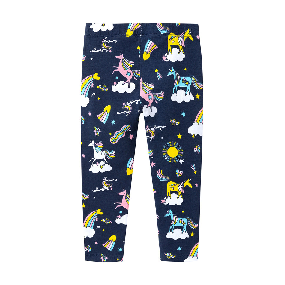 Funfeliz leggings para meninas 2019 outono verão unicórnio dos desenhos animados imprimir meninas lápis calças crianças 2 t-7 t algodão