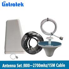Lintratek 800 ~ 2700Mhz Lpda Buitenantenne Plafond Indoor Antenne 15 Meter Coxial Kabel Voor 2G 3G 4G Mobiele Signaal Booster @ 8.5