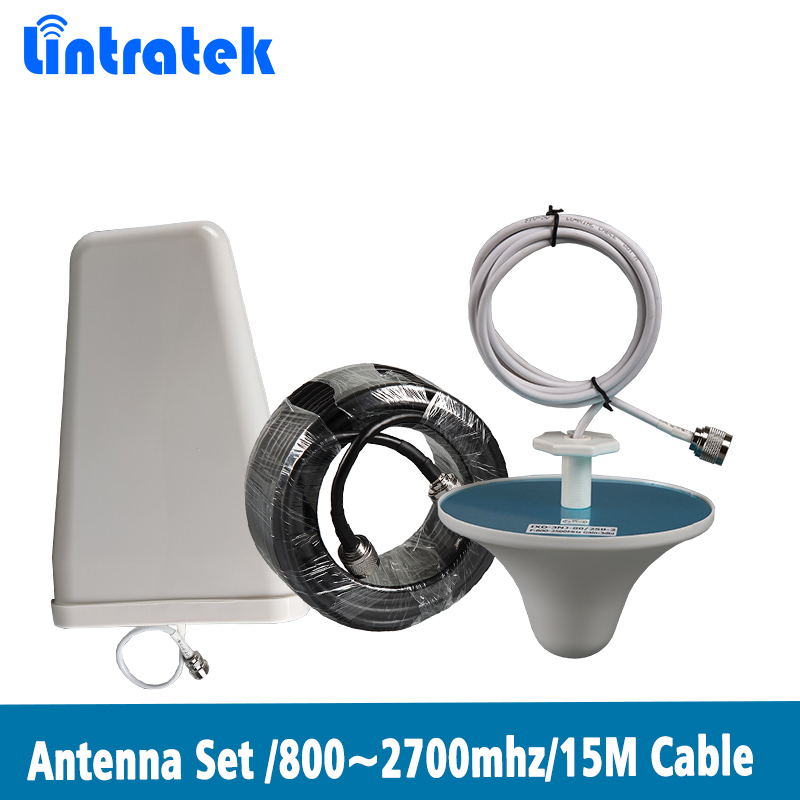 Lintratek 800~2700mhz LPDA Outdoor Antenna Ceiling Indoor Antenna 15 Meter Coxial Cable For 2G 3G 4G Mobile Signal Booster @8.5