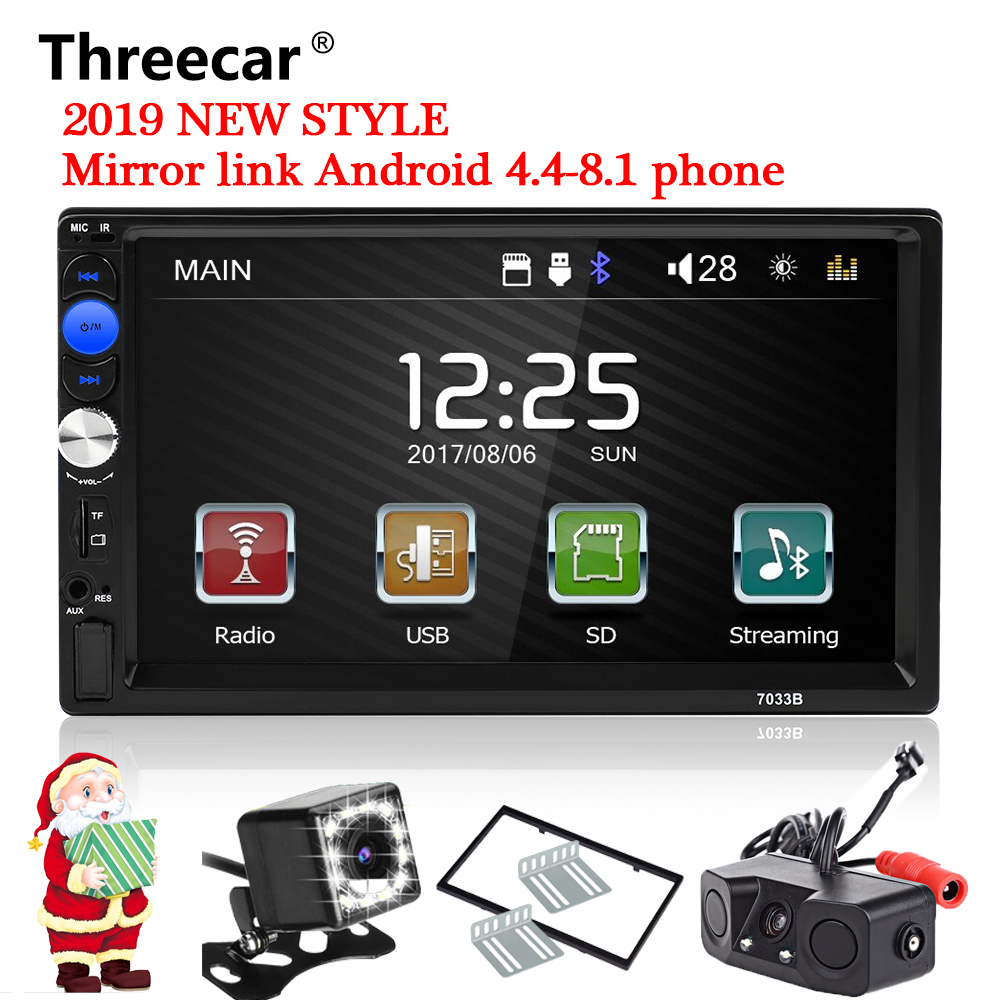 Threecar 2din car radio 7 HD Player MP5 Touch Screen Digital Display Bluetooth Multimedia USB 2din