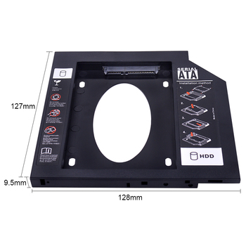 "CHIPAL Universal Second 2nd HDD Caddy 9.5mm 9mm SATA 3.0 for 2.5"" SSD Hard Drive Case Adapter for Laptop CD-ROM DVD ROM Optibay"