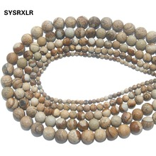Wholesale Faceted Natural Stone Picture Loose Beads For Jewelry Making DIY Bracelet Necklace Material 4 6 8 10 12 MM Strand 15''