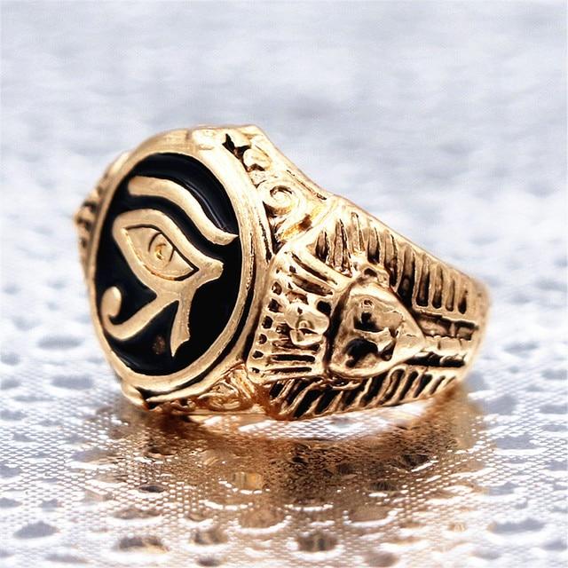 Egyptian Eye of Horus Gold Udjat Amulet Ring Alloy Stainless Steel Ring Egypt Pharaoh King Motor Biker Mens Party Jewelry R133
