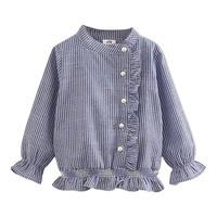 Baby mädchen striped langarm-shirt frühling herbst kinder Casual Langarmshirts Dot Kragen Schule Mädchen Bluse
