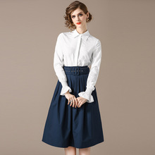Chiffon white single breasted long sleeve blouse and cotton jeans a line skirts 2 piece suits 2018 new women autumn