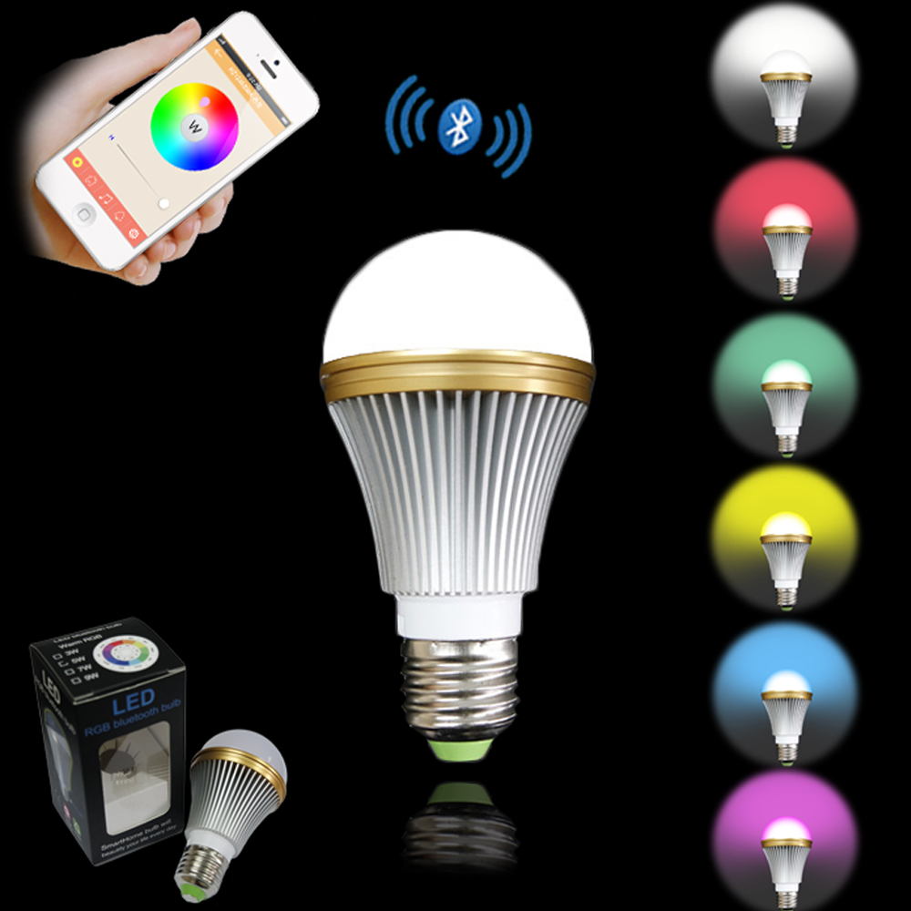 Wireless Remote Control Bluetooth Smart LED Bulb Light RGB for Android IOS Best Sale smart bulb e27 led rgb light wireless music led lamp bluetooth color changing bulb app control android ios smartphone
