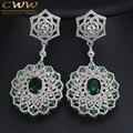 Alta Qualidade de Cristal Verde E Branco CZ Criado Diamante Configuração CZ324 Grande Longo Nupcial Dangle Brincos Para Presente de Casamento Das Mulheres