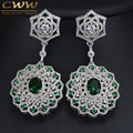 High Quality Green Crystal And White CZ Created Diamond Setting Large Long Bridal Dangle Earrings For Women Wedding Gift  CZ324