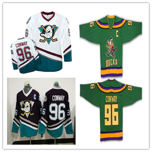 BONJEAN Mighty Ducks Movie Jersey Green 100% Stitched Sewn Throwback 96 Charlie Conway Ice Hockey Jerseys S-XXXL Free Shipping