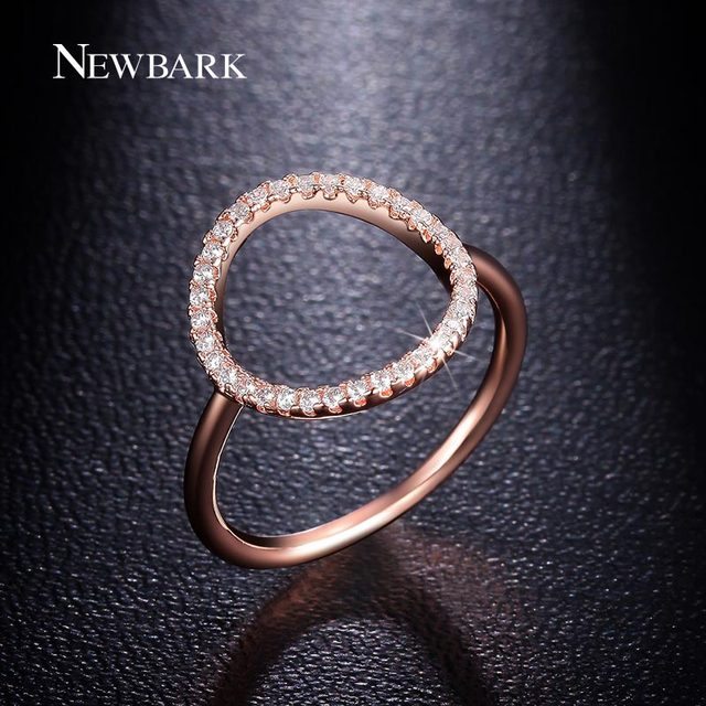 NEWBARK Sparkling Hoop Ring Pave Cubic Zirconia Rose Gold and Silver