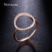 NEWBARK Sparkling Hoop Ring Pave Cubic Zirconia Diamond 18k Rose Gold And White Gold Plated Fashion