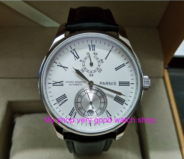 43mm PARNIS  white dial Automatic Self-Wind movement power reserve men's watch Mechanical watches wholesale 256-1A 40mm parnis white dial vintage automatic movement mens watch p25