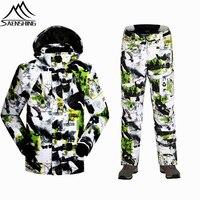 2016 Winter Men Ski Suits Thermal Outdoor Snowboard Jacket Thicken Ski Pants Waterproof Windproof Camouflage Sports