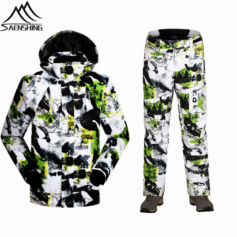 SAENSHING Winter Men Ski Suits Thermal Outdoor Snowboard Jacket Thicken Ski Pants Waterproof Windproof Camo Sports Snow Clothes
