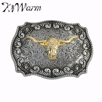 1Pcs Bull Long Horn Pattern Ancient Silver Western Style Alloy Belt Buckle Brand New Condition With Continous Stock 8.4x6.3cm