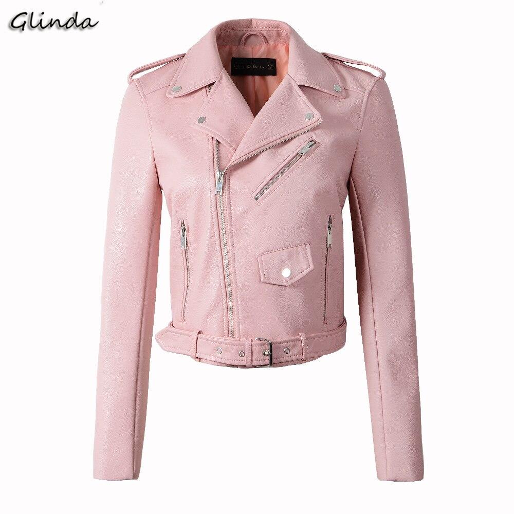 2019 Faxu Pu   Leather   Jacket Women Spring Autumn Short Coat Zipper Pockets Biker Motorcycle Ladies   Leather   Jackets Overcoat