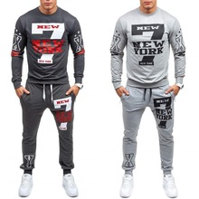 Zagaa New Men Sets Fashion Autumn Spring Printing Sporting Suit Sweatshirt +Sweatpants Clothing 2 Pieces Slim Tracksuit