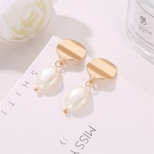 Womens Jewelry Imitation Natural Pearl Earrings Geometric Pendant Luxury for Women Wedding 096