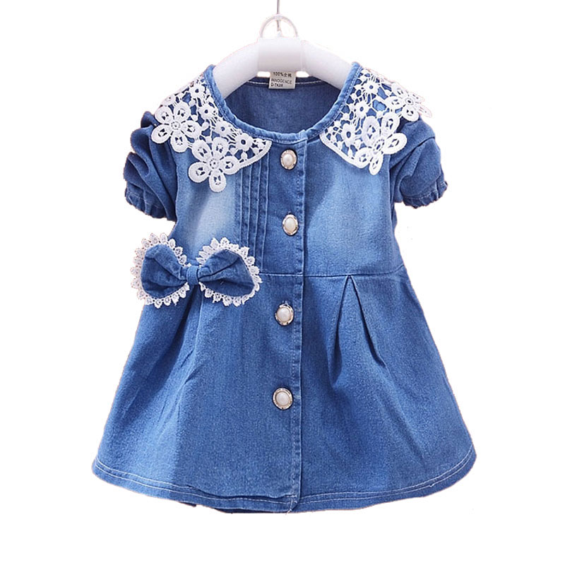 Spring Autumn Denim Dress for Newborn Baby Girl Lace Bow Childrens Dresses Outerwear Casual Girls Clothes Infant Clothing 2017