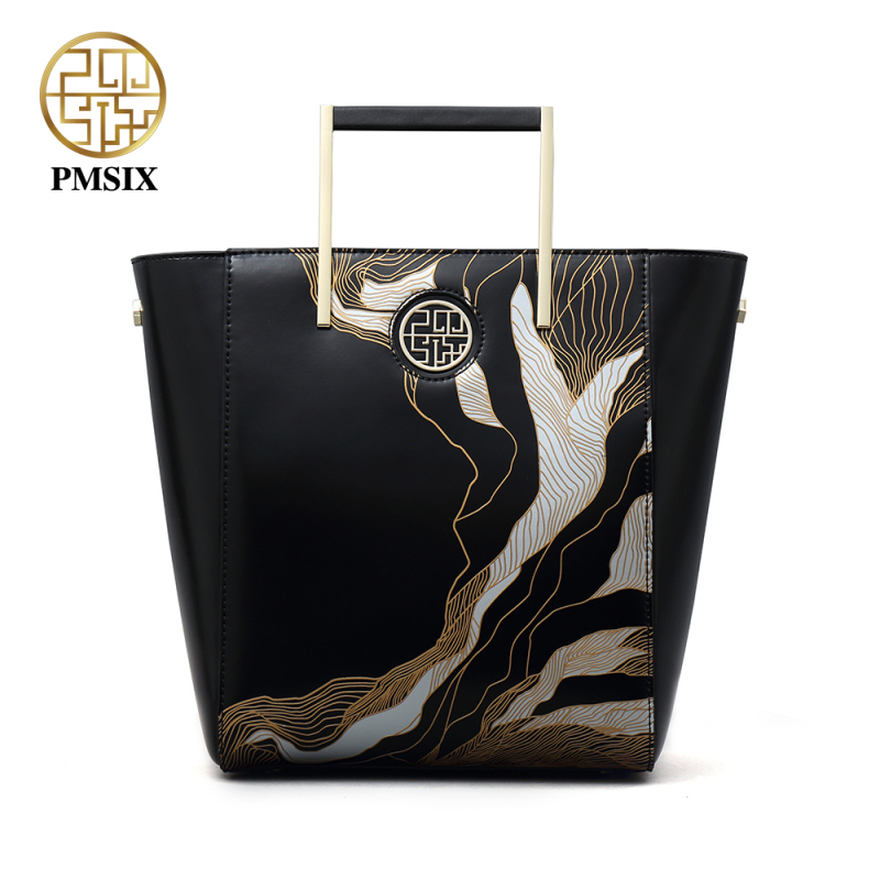 PMSIX 2018 Luxury Handbags Women Bags Embossed Designer Split Leather Versatile Shoulder Bags Female Black Large Tote Bag брюки weekend max mara weekend max mara we017ewtmp41