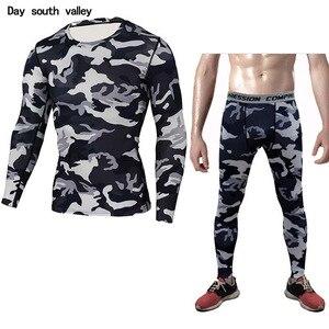 Men Long Sleeves Tights Crossfit Tshirt Rashgard Male Camouflage Shirt FUC Compression Men's Fitness Set   S M L XL XXL XXXL