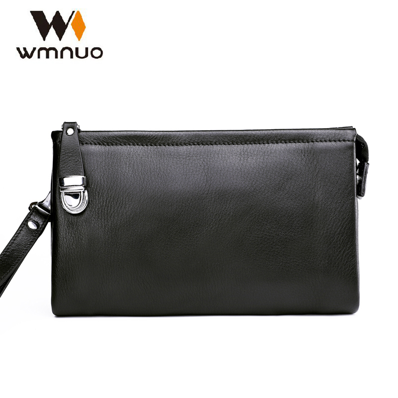 Wmnuo Men Handbag Genuine Leather Men Wallet Luxury Hand Bag Moneder Male Cow Leather Designer Purse Men's Clutch Bag Fashion цена 2017