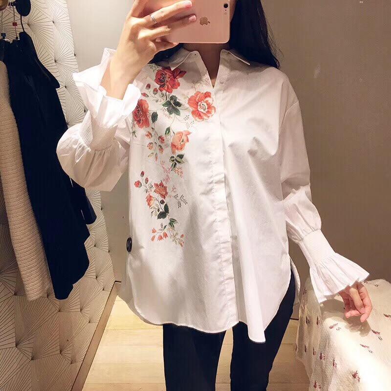Manches Blouse 2019 Floral À Blanche Chemises Coton Imprimé Flare Longues 100 Printemps Nouveau xCwCnOSfq