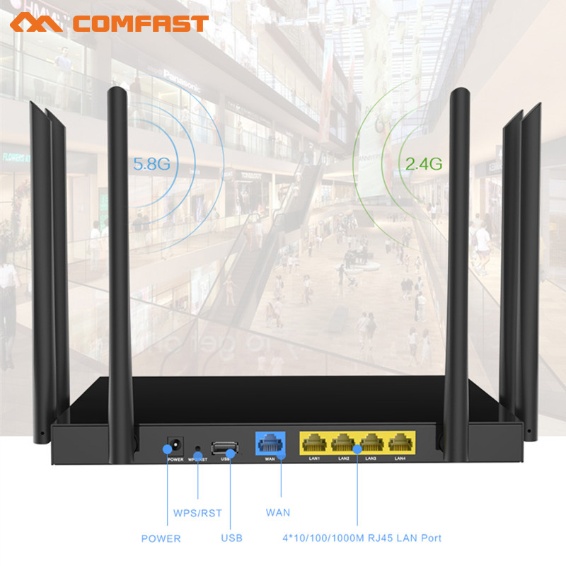 Comfast 1750Mbps ac WIFI Router 2.4Ghz/5.8Ghz wifi Repeater roteador Wi-Fi with watchdog 6PA+6*6dBi Antennas 4*gigabit LAN ports comfast full gigabit core gateway ac gateway controller mt7621 wifi project manager with 4 1000mbps wan lan port 880mhz cf ac200