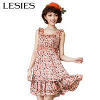 Fashion Summer Dresses For Women 2016 Charming Ruffled Pleated Sleeveless O Neck Dresses Printed Empire Party